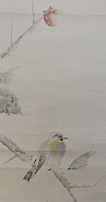 Japanese Signed Scroll Painting of Bird on Persimmon Tree
