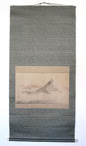 Japanese Antique Mt. Fuji Scroll Painting by Kazan