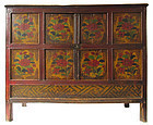 Antique Tibetan 19th Century Lacquer Cabinet