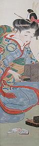 Antique Japanese Scroll of a Geisha