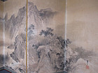 Large Japanese Antique Screen Painting of Mountains and Horses