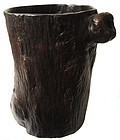 Antique Chinese Burl Scroll Pot