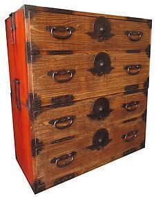 Unusual Antique Japanese Two Section Isho Tansu
