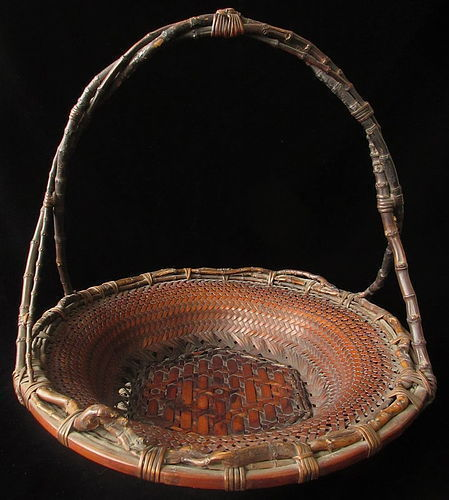 Antique Japanese Large Woven Basket signed Chiku'unsai