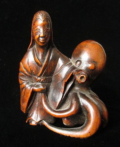 Japanese Boxwood Okimono of a Lady and Octopus