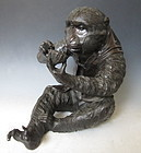 Incredible Japanese Meiji Period Bronze Monkey by Shunben