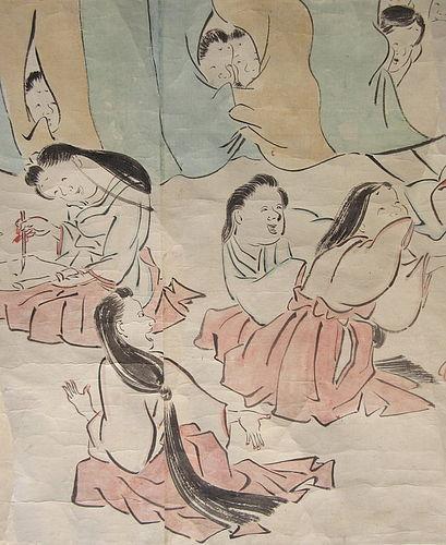 Antique Japanese Large Erotic Shunga Scroll