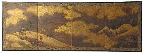 Antique Japanese 4-Panel Gold Leaf Screen