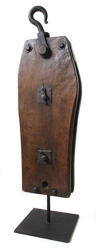 Japanese Antique Large Wooden Pulley on Iron Stand