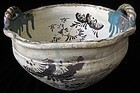 Antique Japanese Oribe Ceramic Bowl