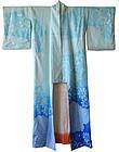 Japanese Blue Silk Shibori Kimono
