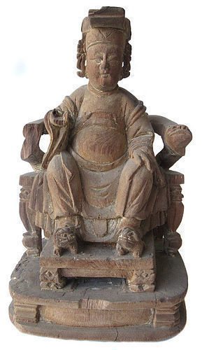 Antique Chinese Wood Ancestor Carving