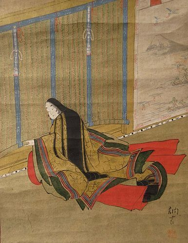 Antique Japanese Genji Scroll by Totsugen Tanaka, Tosa School