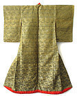 Japanese Antique Uchikake (Wedding Kimono) of Obi Brocade
