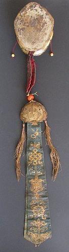 Antique Tibetan Damaru (Buddhist Drum) Made of Skulls