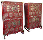 Antique Korean Pair of Red Lacquer Cabinets with Inlay