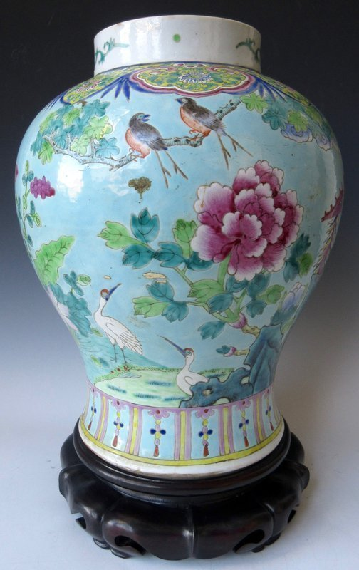 Antique Chinese Large Porcelain Jar on Stand