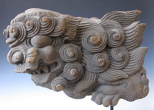 Japanese Edo Period Temple Carving of a Fu-dog