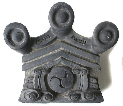 Japanese Large Onigawara Roof Tile with Mon