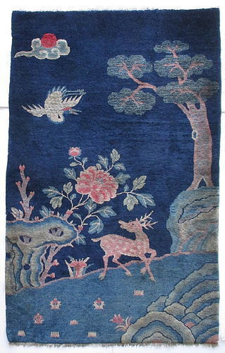 Chinese 19th Century Rug with Deer and Crane