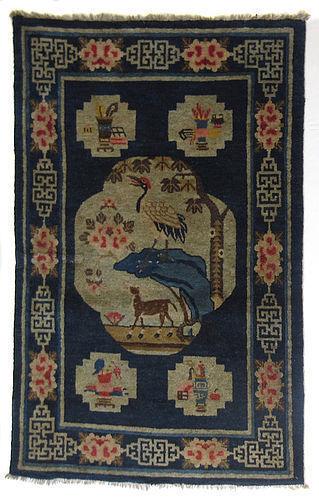 Chinese Pao Tao Peking Rug w/ Deer & Crane