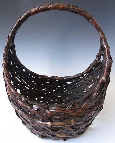 Antique Japanese Moon Shaped  Ikebana Basket