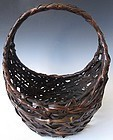 Antique Japanese Moon Shaped  Ikebana Basket