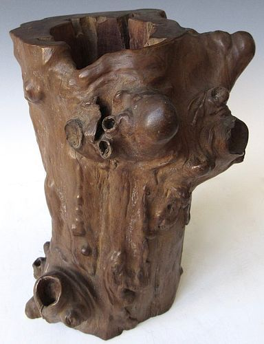 Chinese Burl Wood Brush Pot