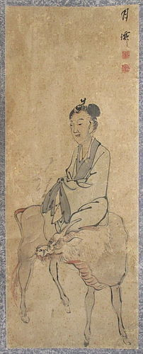 Japanese 18th Century Scroll Painting of Maiden on Kirin