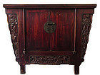 Antique Chinese Red Coffer Cabinet