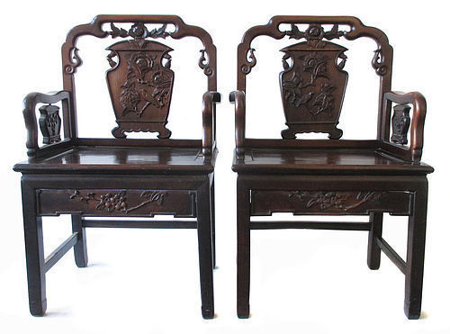 Pair of Chinese Rosewood Republic Period Chairs
