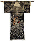 Antique Japanese Theater Dragon and Mount Fuji Robe
