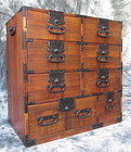 Japanese Antique Kiri Wood Tansu with 8 Drawers