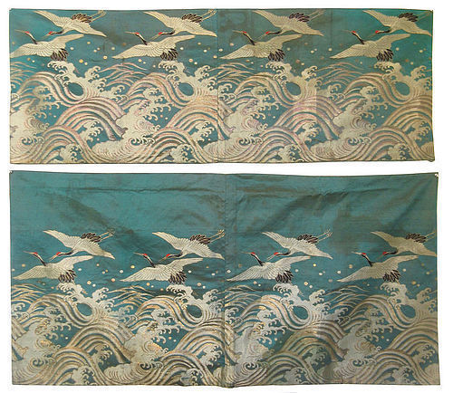 Antique Chinese Set of Two Silk Panels with Flying Cranes