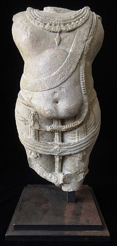 Incredible Cambodian 12th Century Stone Torso Statue