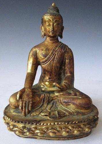 18th Century Tibetan Gilt Buddha Statue