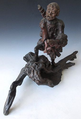 Japanese Burl Root Wood Carving of a Man