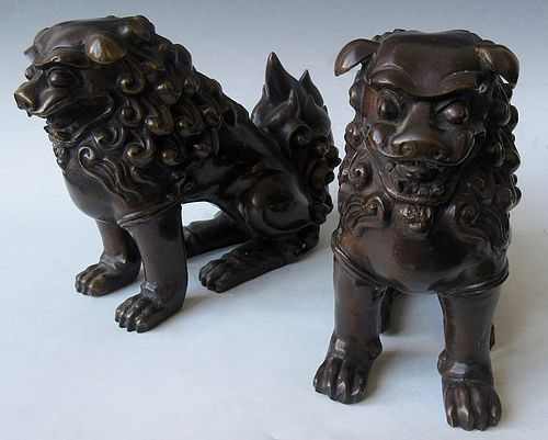 Japanese Pair of Bronze Fu Dogs