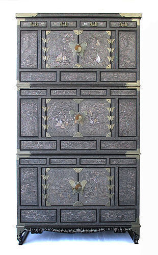 Korean Three Section Mother of Pearl Inlaid Cabinet Samch'ung Jang