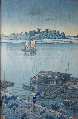 Japanese Framed Woodblock Print by Hasui Kawase