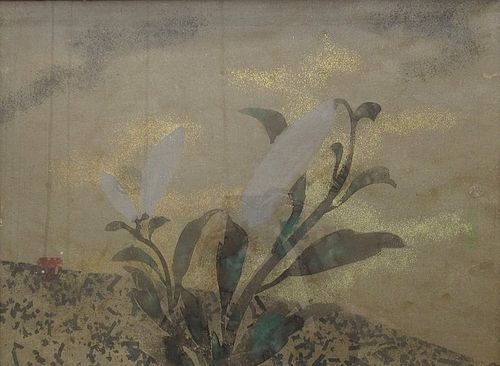 Antique Japanese Framed Gilt Floral Painting by Ogata Korin