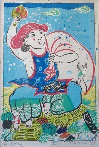 "Japanese Large Framed Print by Mayumi Oda, ""Daikoku"""