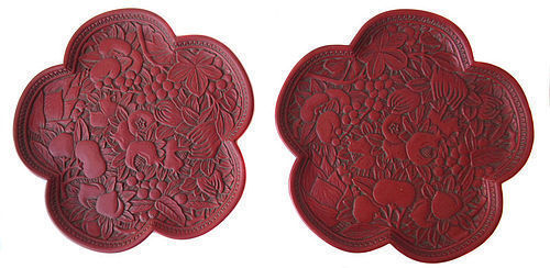 Pair of Chinese Cinnabar Flower Trays