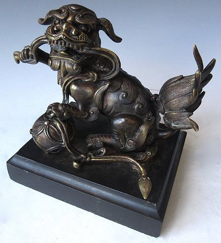 Antique Chinese Bronze Fu Dog Statue