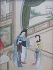 Antique Chinese Framed Silk Painting
