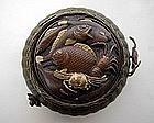 Japanese Fishing Basket Ink Well, Meiji