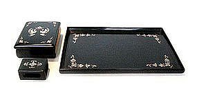 Japanese Black Lacquer Box and Tray Set