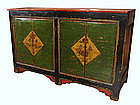 Painted Mongolian Double Low Cabinet with Green Lacquer