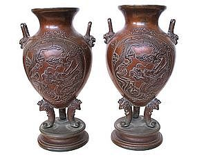 Pair of Japanese Antique Bronze Vases with Dragons