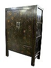 Antique Chinese Large Black Lacquer Cabinet